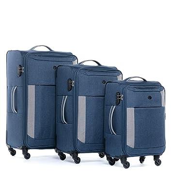 FERGÉ Juego de 3 Maletas Blandas de Viaje expandible Saint-Tropez 3 Maletas Suaves Sistema Trolley Equipaje con 4 Ruedas giratorias (360) Azul: Amazon.es: ...