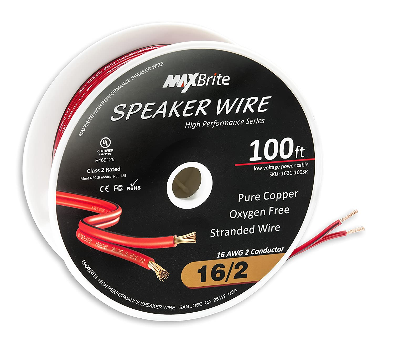 High Performance 16 Gauge Speaker Wire, Oxygen Free Pure Copper - UL Listed Class 2 (100 Feet Spool)