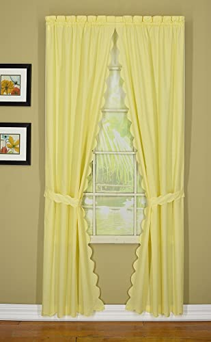 Today s Curtain Orleans 54 Panel Pair with Tiebacks Tambour Scallop Edge Curtain, Buttercup, 60 W X L Tb