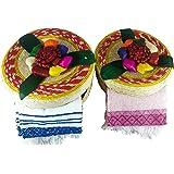 Tortillero & Pancake Handwoven Basket & Handloomed Tortilla Cloth 2 Pack Warmer Keeper Bundle 100%