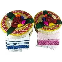 Tortillero & Pancake Handwoven Basket & Handloomed Tortilla Cloth 2 Pack Warmer Keeper Bundle 100% Palm Mexican Art.