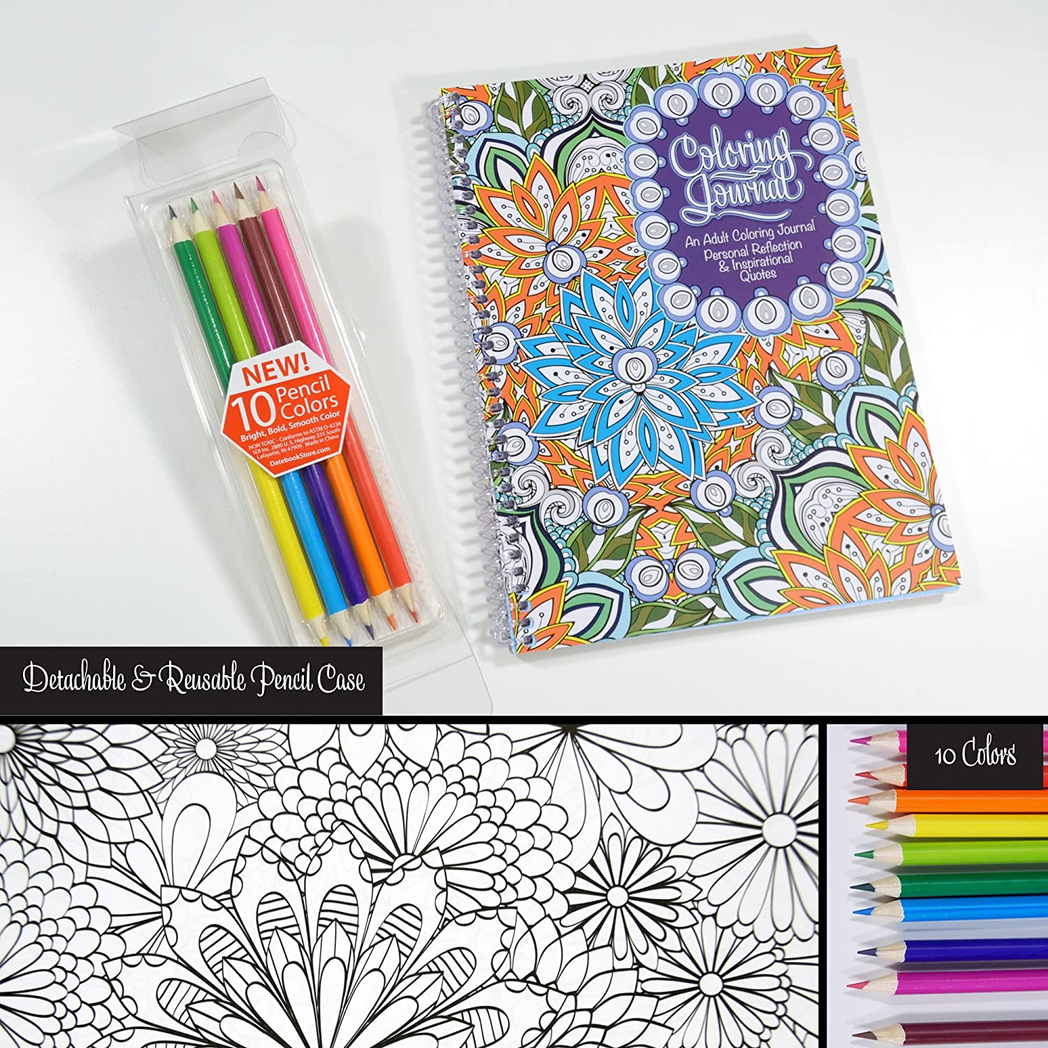 Adult coloring book with quotes - Amazon Com Adult Coloring Journal Includes Colored Pencils An Adult Coloring Journal With Inspirational Quotes Spiral Bound 6 625 X 9 Office