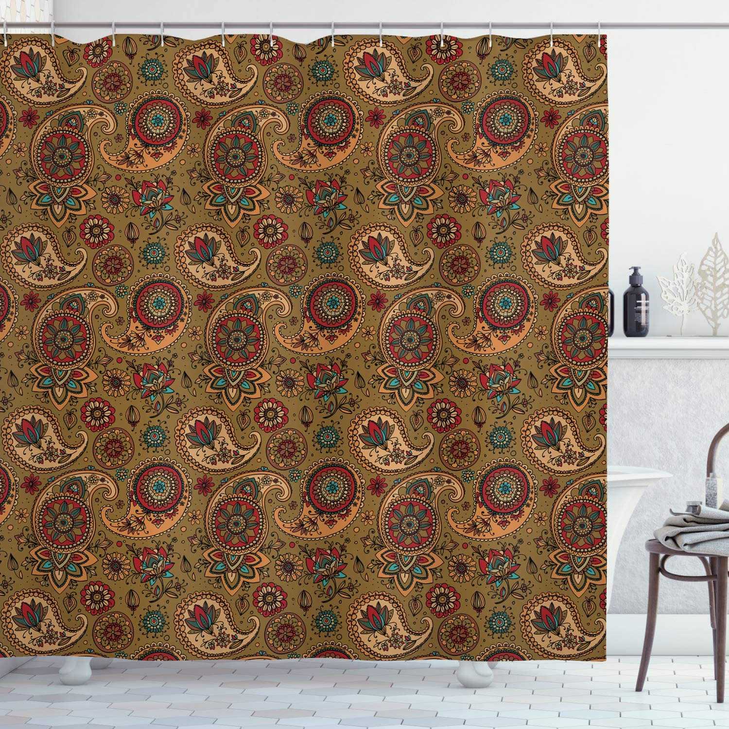 Ambesonne Paisley Shower Curtain, Vintage Inspired Multicolored Leaf Flower Motif in Earth Tones Print, Cloth Fabric Bathroom Decor Set with Hooks, 75