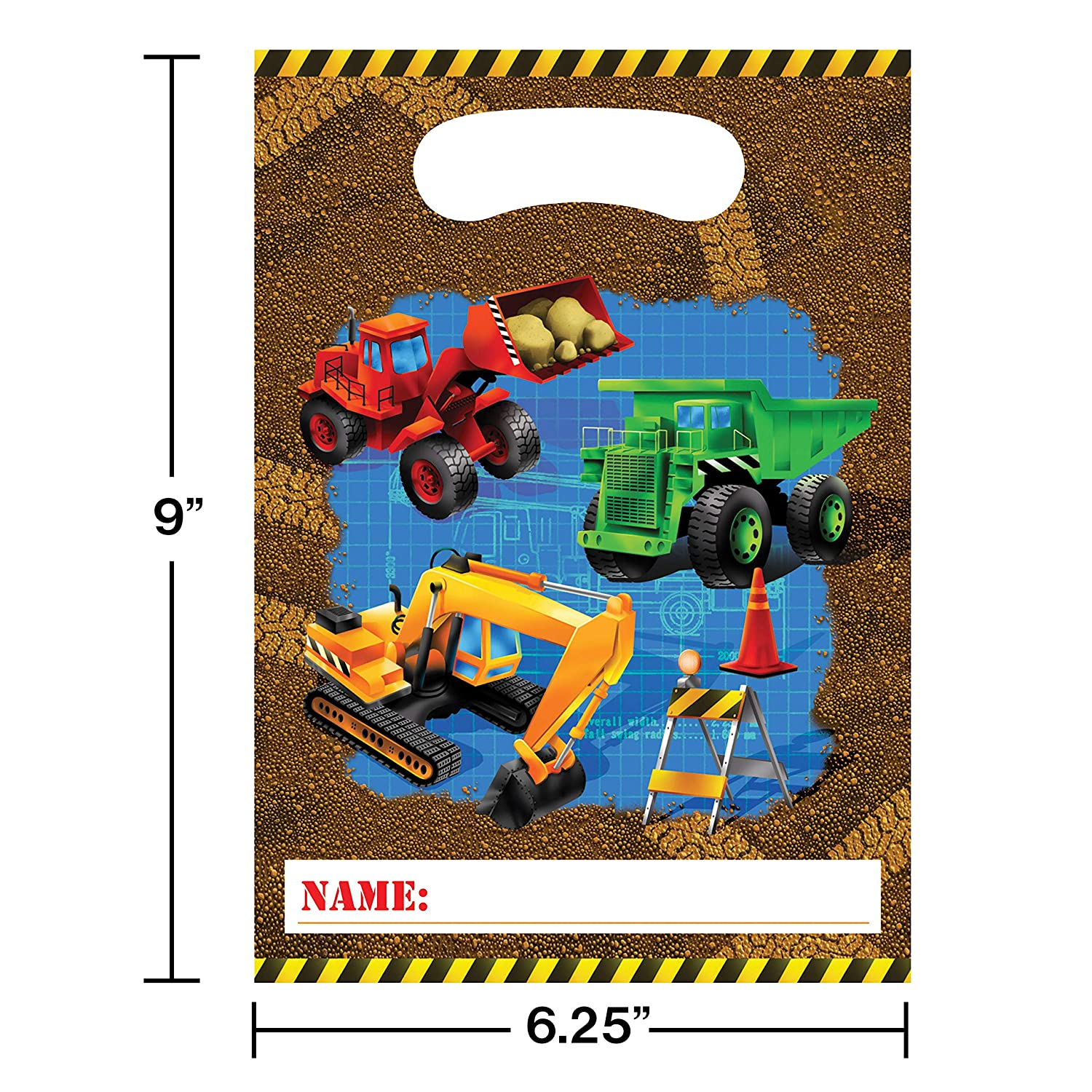 8-Count Party Loot Bags Under Construction Creative Converting-Toys 085955
