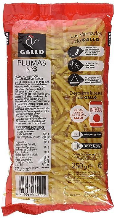 Gallo - Pasta seca plumas Nº3 - paquete 250 gr - [Pack de 8]: Amazon.es: Alimentación y bebidas