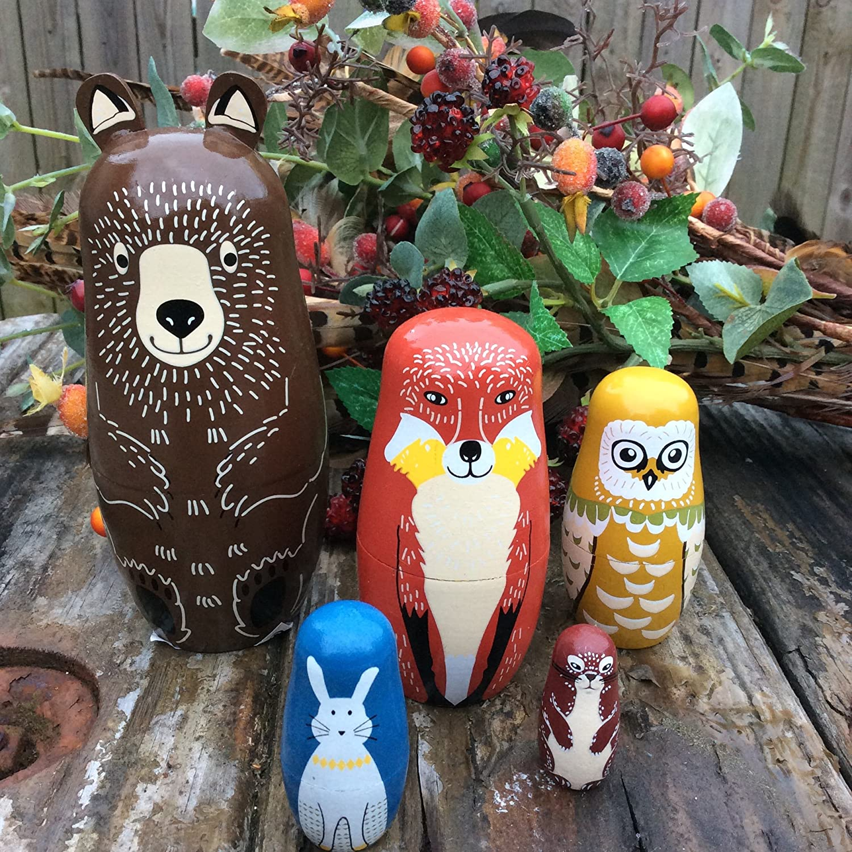 Decoris Hand Painted Woodland Animals - 5 Piece Wooden Nesting Dolls Matryoshka Set. KAEMINGK