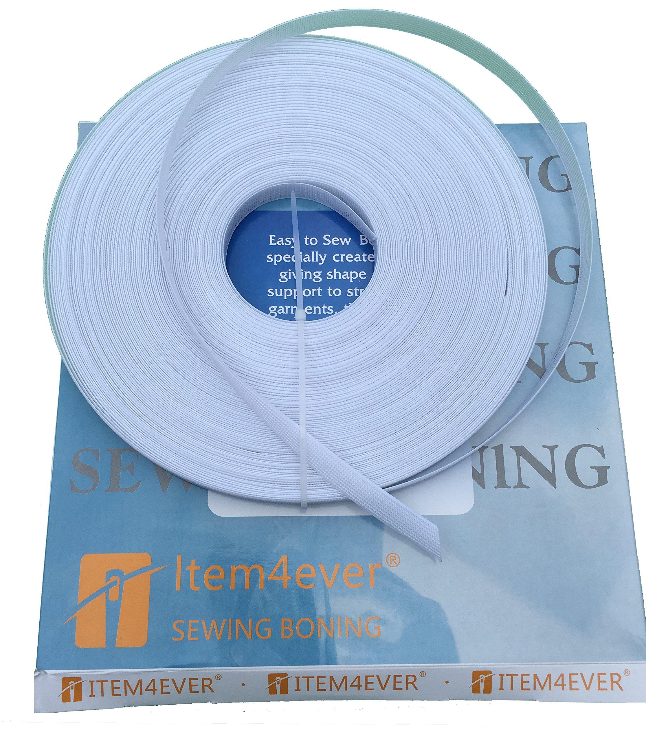50yds Rigilene Poly Polyester Boning - Item4ever (1/4'', White) by item4ever