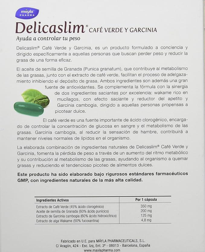 Delicaslim Café Verde y Garcinia Natural - 30 Cápsulas: Amazon.es: Salud y cuidado personal