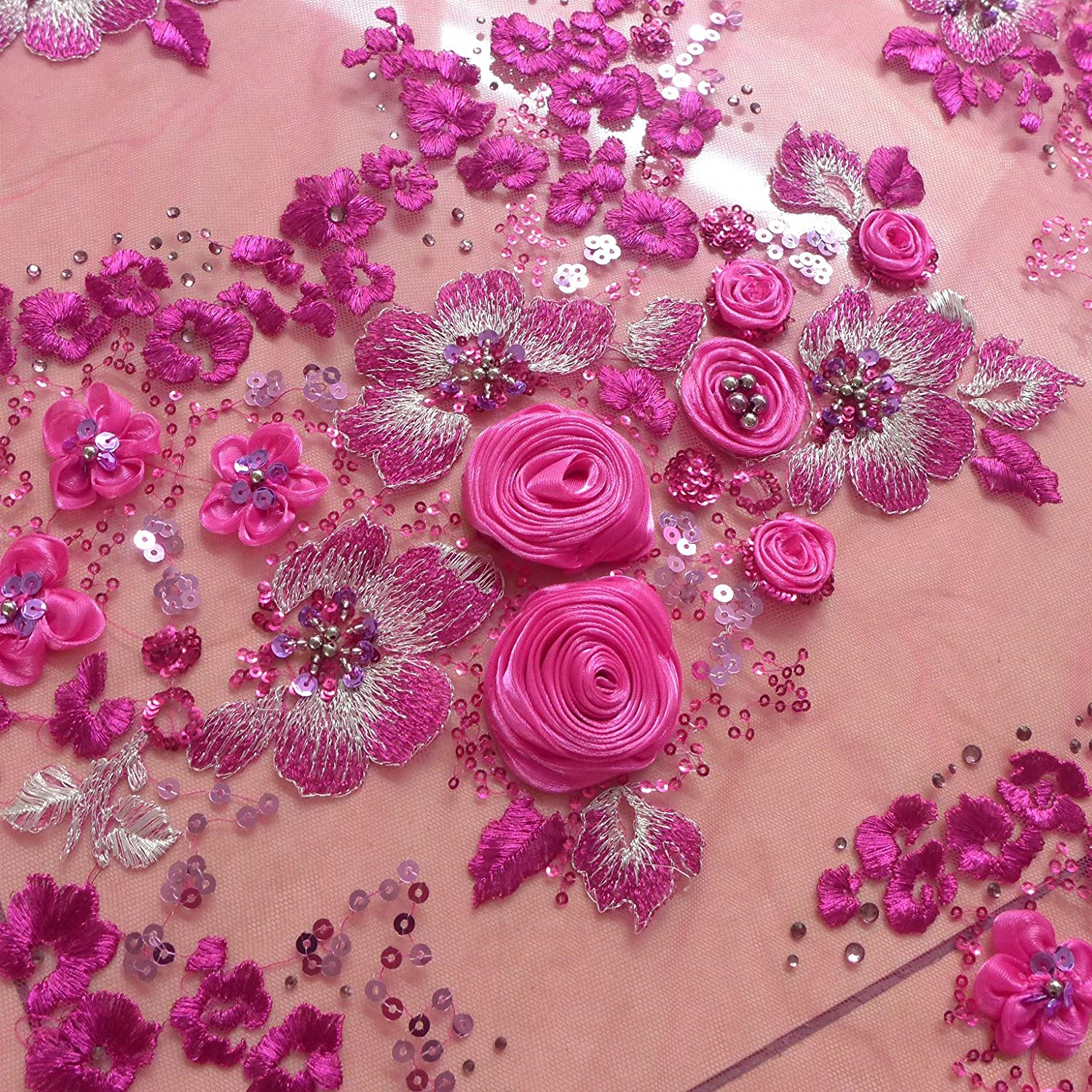 Amazon Pink 3d Rose Flowers Evening Dress Fabric 10 Colors 51