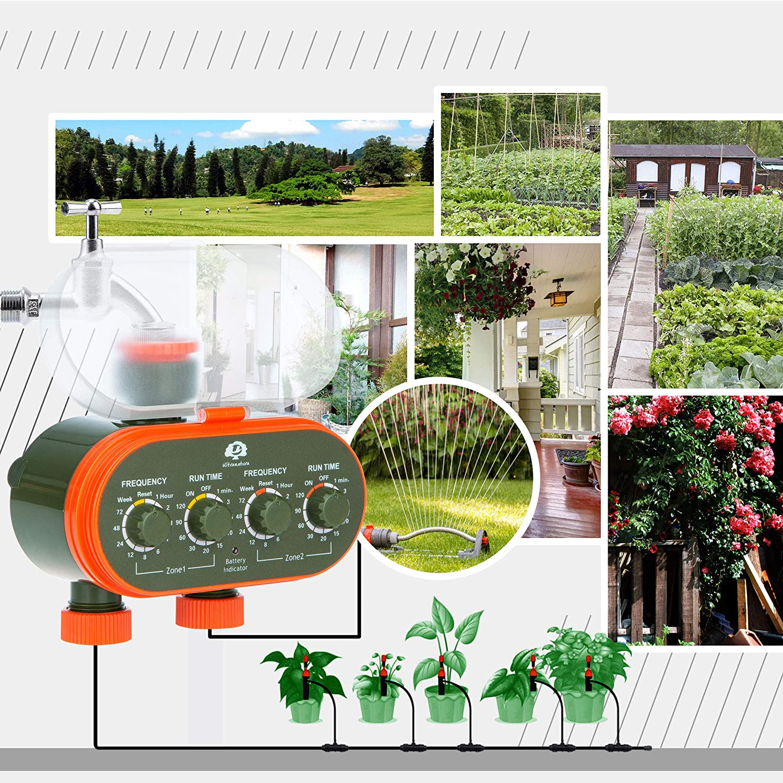 ideal zur Blumenbew/ässerung Ultranatura Doppel-Bew/ässerungssystem mit Zeitschaltuhr Rasenbew/ässerung etc batteriebetrieben mit Zwei Ausg/ängen