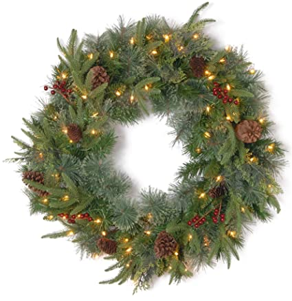 National Tree 24 Inch Feel Real Colonial Wreath With 8 Pine Cones Red Berries
