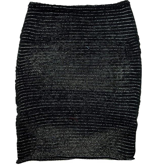 GURU-SHOP, Mini Falda, Falda de Punto Boho, Falda étnica, Negro ...