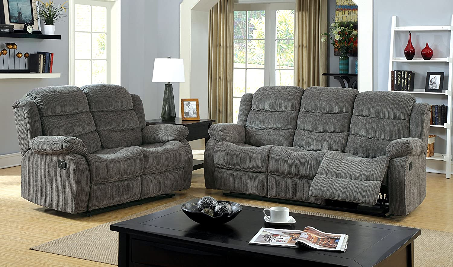Amazon.com: Furniture Of America Blake Chenille 2 Recliner Sofa, Gray:  Kitchen U0026 Dining