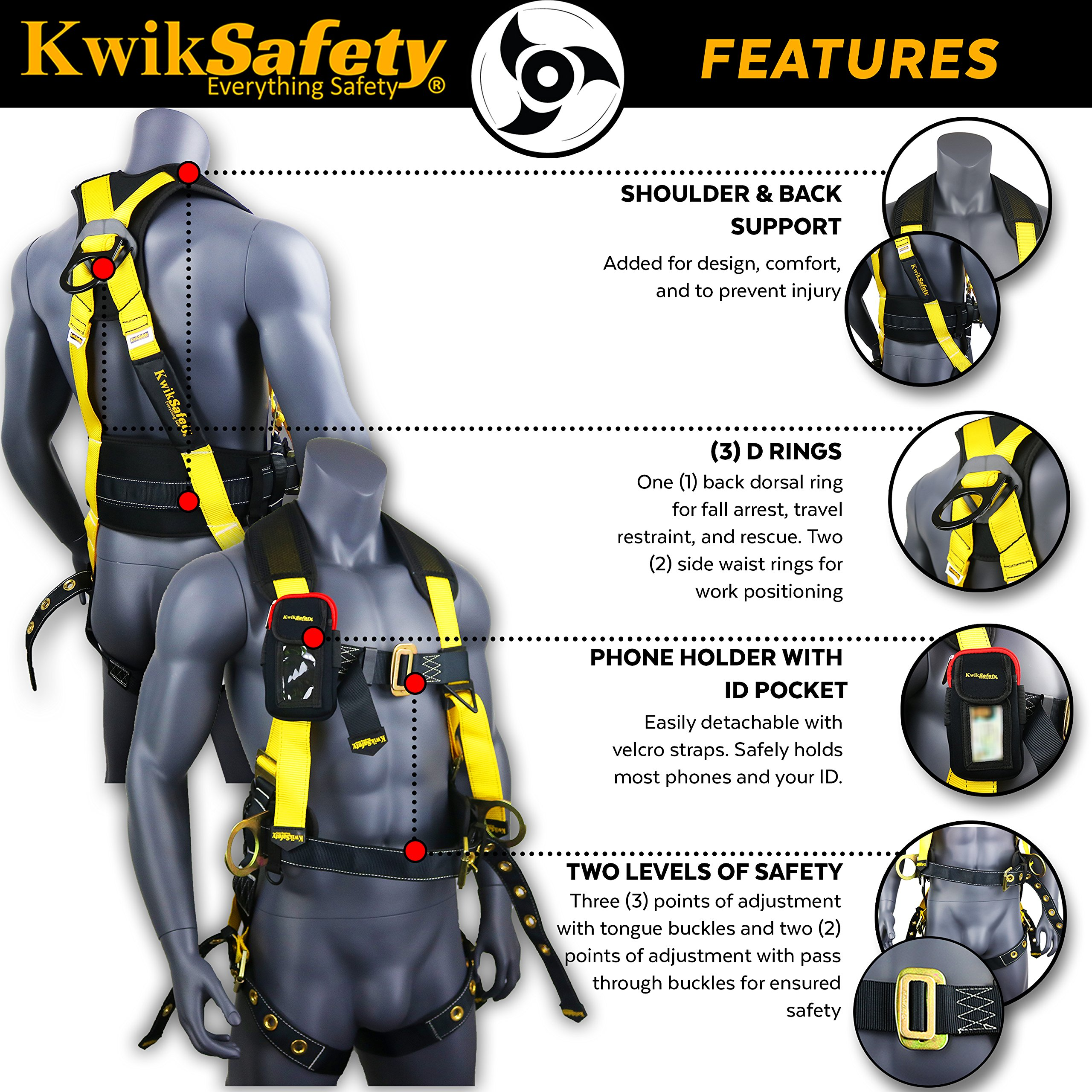 KwikSafety (Charlotte, NC) TYPHOON | ANSI Fall Protection Full Body Safety Harness | Personal Protective Equipment | Dorsal Ring Side D-Rings Grommet Leg Straps Tool Lanyard Bolt Pouch, Construction by KwikSafety (Image #5)