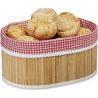 Relaxdays–Cestillo para el Pan Bambú, plástico, hxbxt: 16,5x 33,5x 23,5cm, Pan Cesto, de, panecillos, Natural