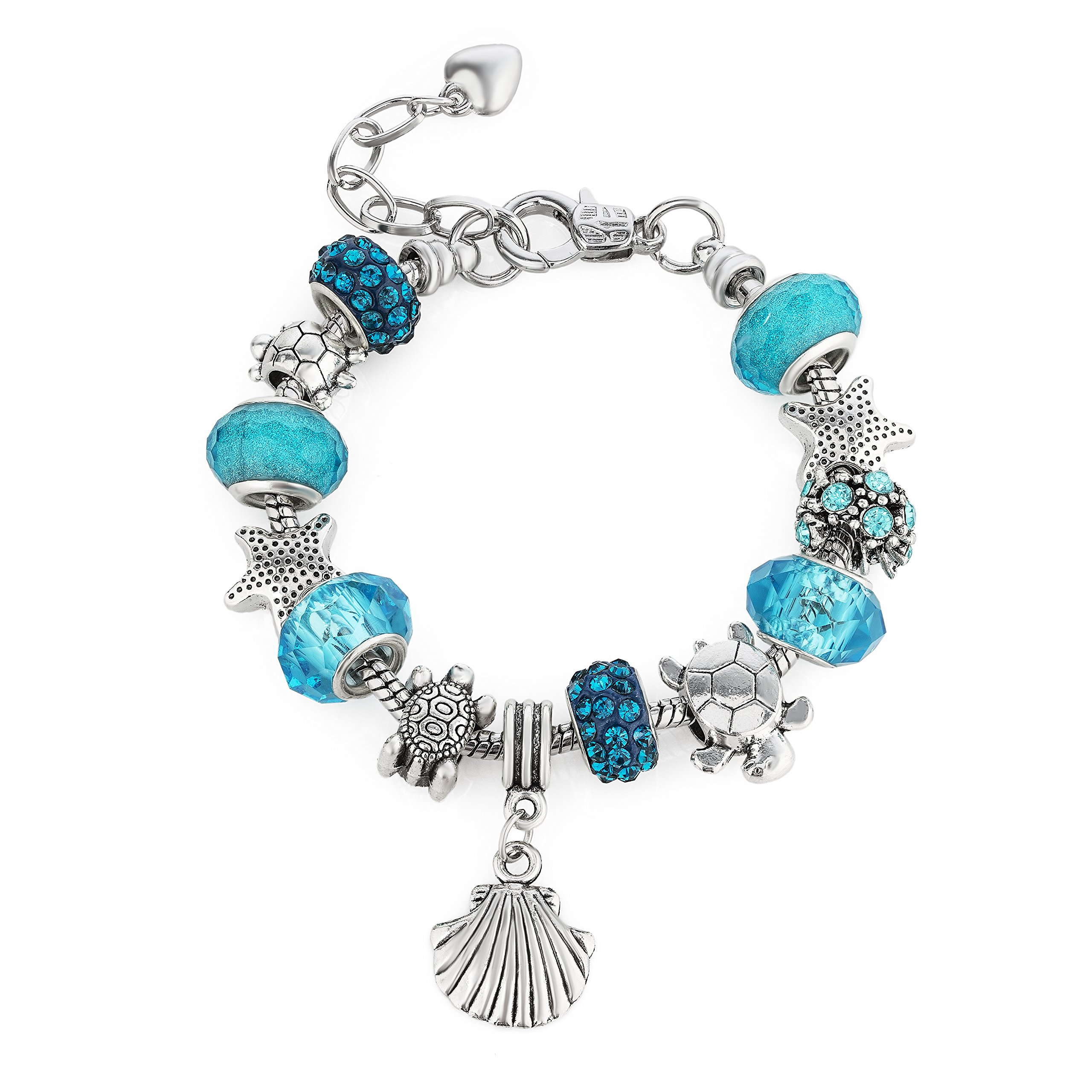 European Ocean Beach Charm Beaded Bracelet Adjustable Size 6-8.5 Inch for Women and Teen Girls Seashell Turtle Starfish Aquamarine Murano Glass Beads Prime Quality Gift 925 Silver Plated