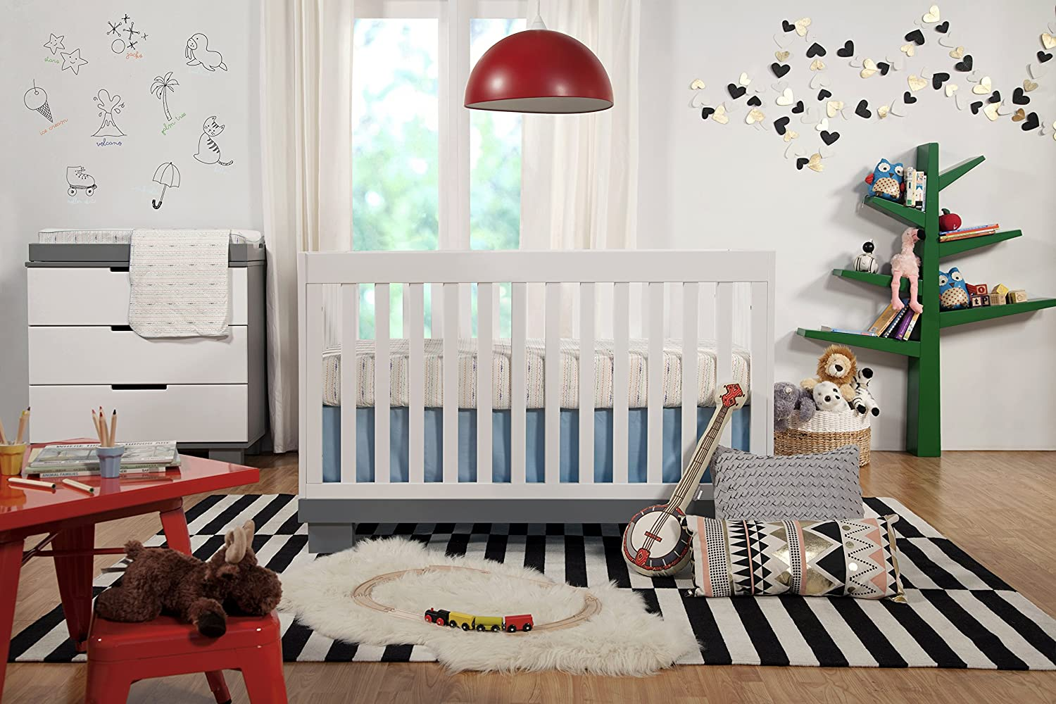 amazoncom babyletto modo 3in1 convertible crib with toddler bed conversion kit grey white baby