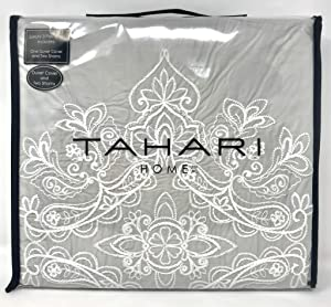 Tahari Home 100% Cotton Quilted Floral Damask 3pc Full Queen Duvet Cover Set Textured Stitching Embroidered Medallions (Neutral Grey, Queen)