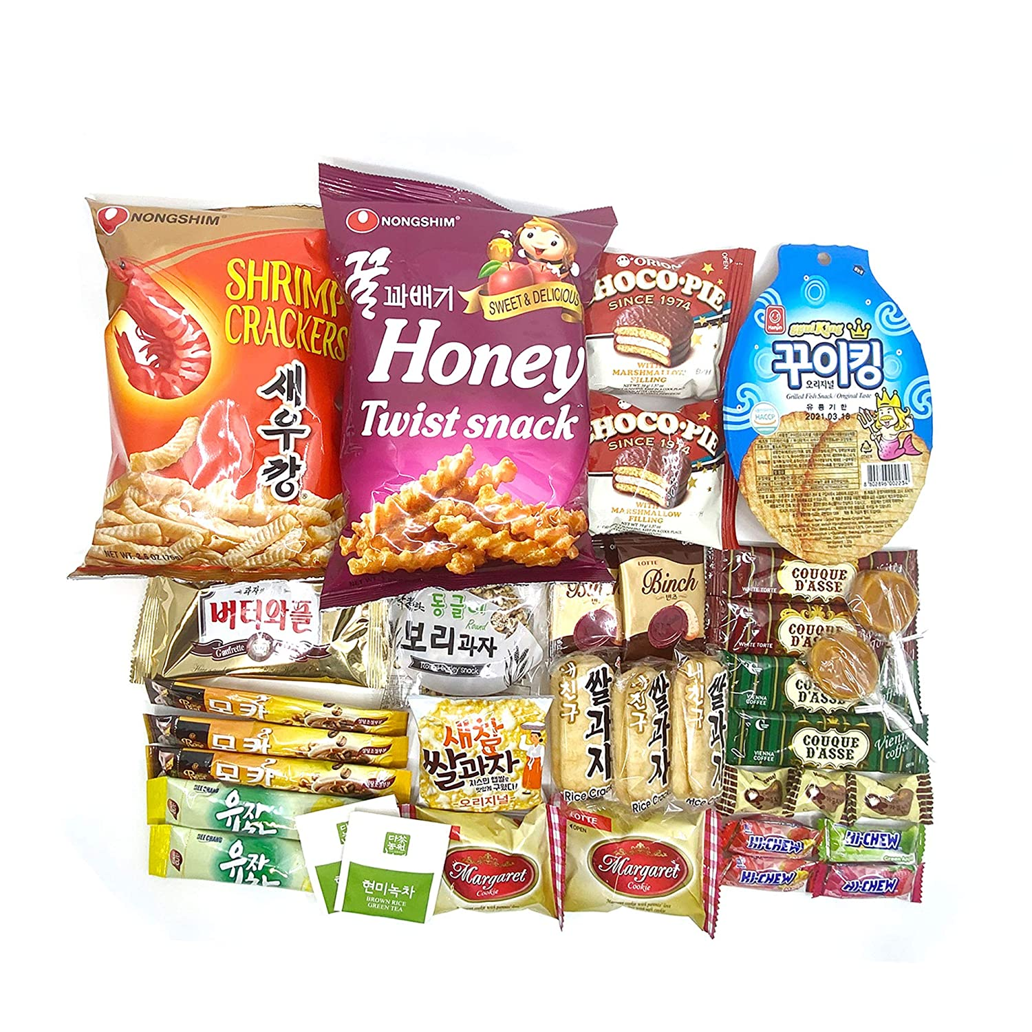 35 Assorted Korean Snack Box for Gift,Perfect Care Package Snack Sampler, Snack Gift Box, Snack Food Gift Chips and Candies,