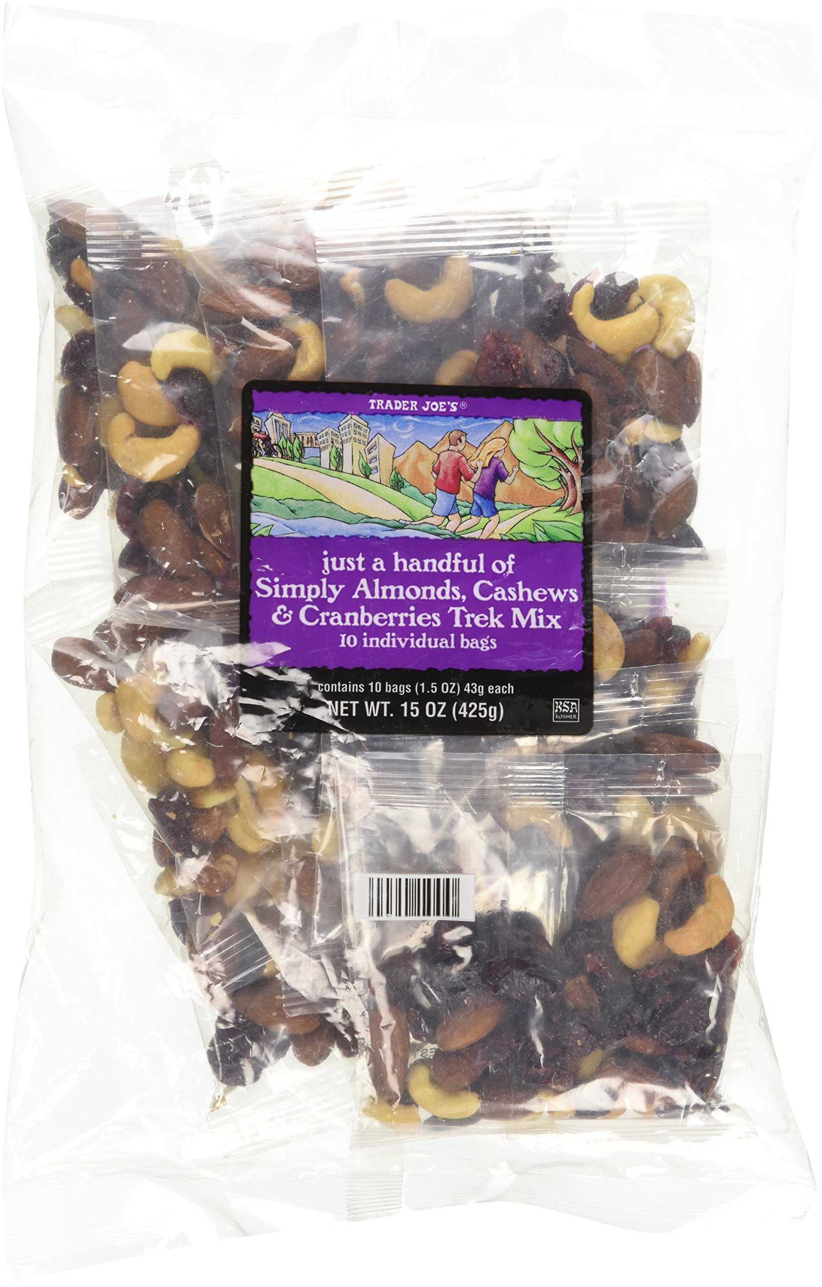 Trader Joe's Just A Handful of Simply The Best Almonds, Cashews & Cranberries Trek Mix 10 Individual Bags