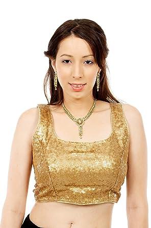 31d2bb0e6370c Amazon.com  Sequin Gold Sari Blouse Choli Indian Saree top for Indian  Wedding  Clothing