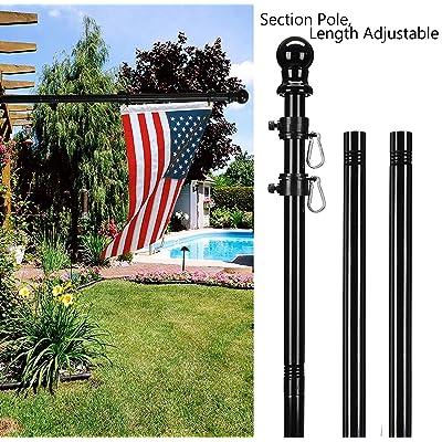 KOOV 6FT Flag Pole Kit 2 Flag Pole + 2 White Bracket Tangle Free Heavy Duty Outdoor Flag Pole for House Outdoor Wall Truck Aluminum Rust Resistant