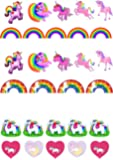 29 Stand Up Cute Unicorn and Rainbow Themed Edible Wafer paper Cake Toppers Decorations