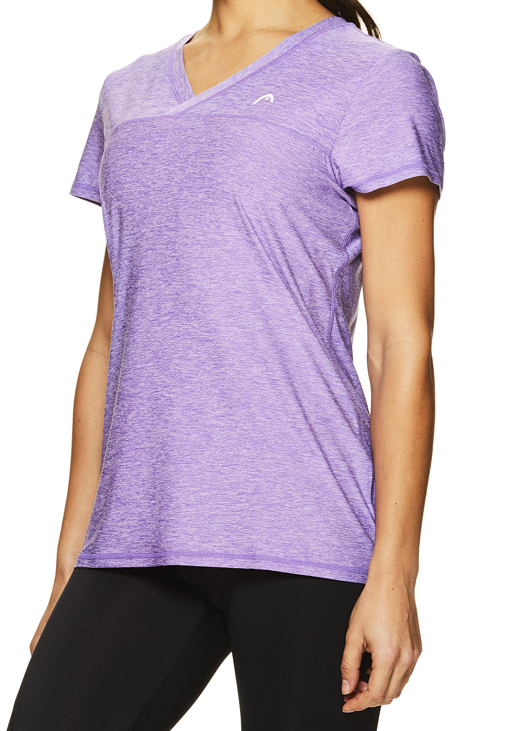 HEAD Women's High Jump Short Sleeve Workout T-Shirt - Performance V-Neck Activewear Top - Chive Blossom Heather, X-Small by HEAD (Image #4)