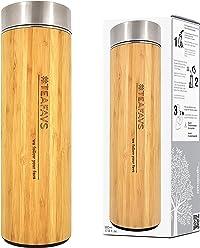 amapodo Thermo tazza 500ml bambù coibentato beaker con filtro del tè e coperchio in acciaio inox thermos termos flacone beuta macchina per il tea maker bottone caffè andare a doppia parete infusore senza bpa