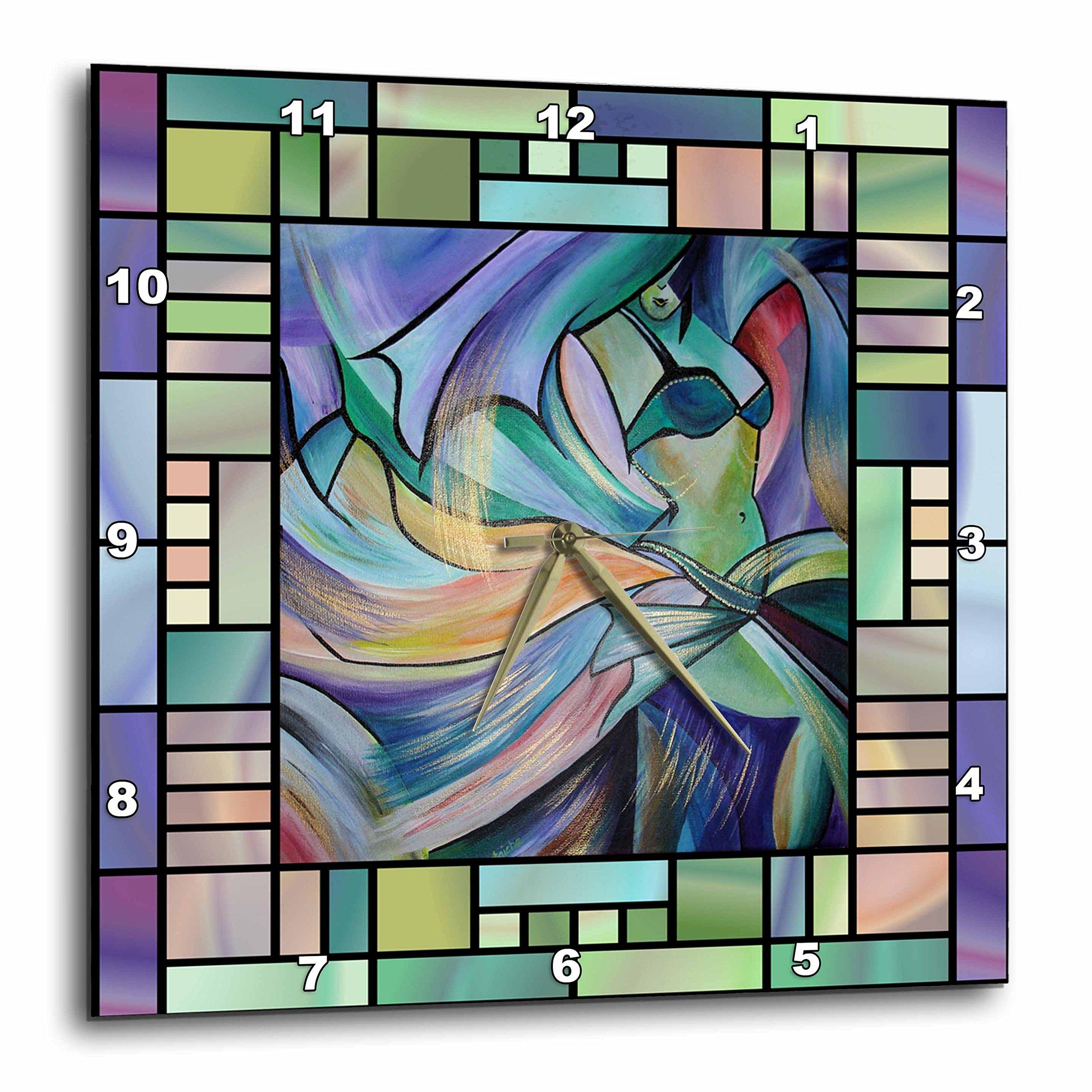 3dRose dpp_46761_2 Art Deco Dancer Dance, Dancing, Belly Dance, Bellydance, Oriental Dance, Middle Eastern Dance, Wall Clock, 13 by 13-Inch