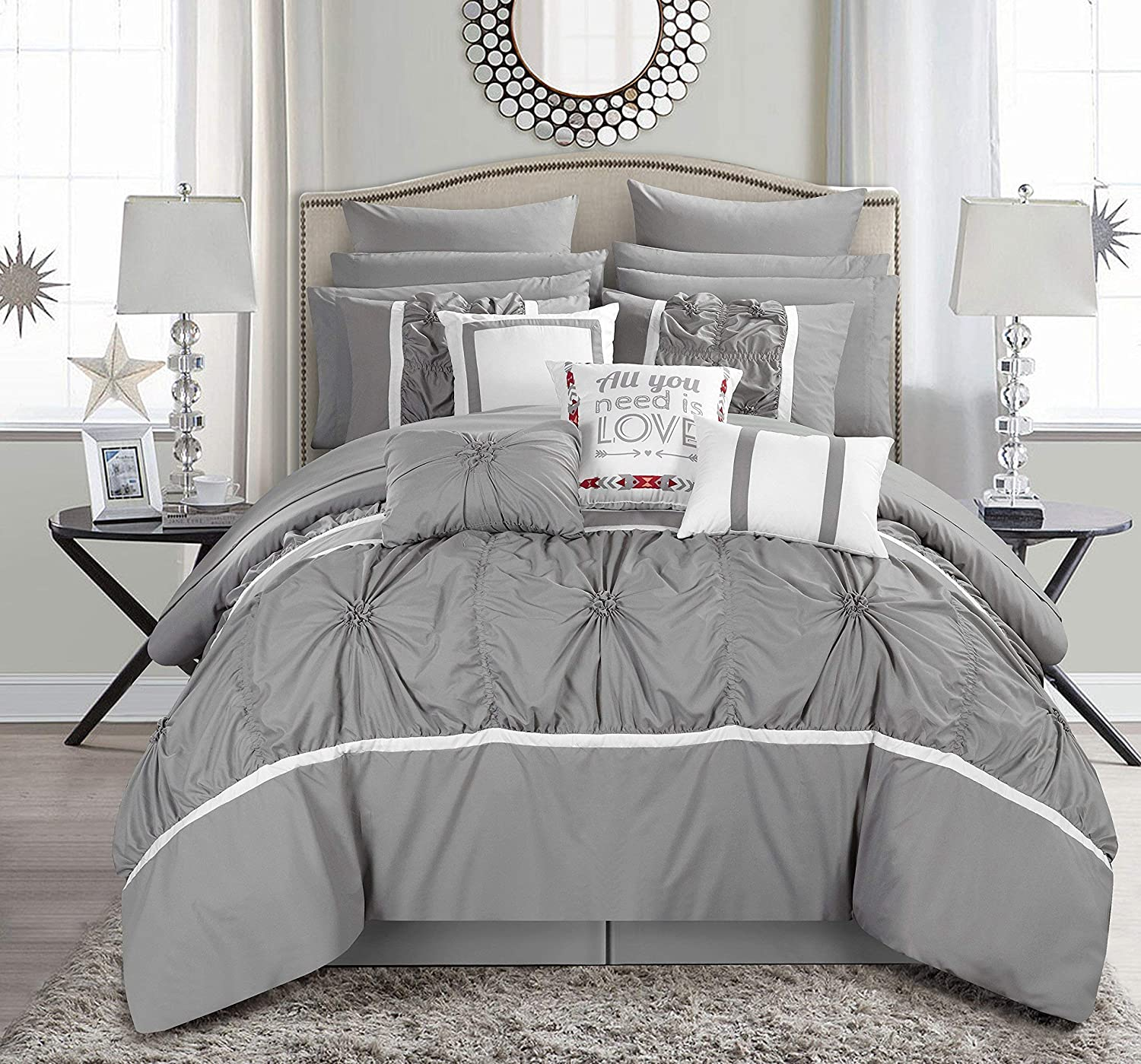 Chic Home Ashville 16 Comforter Set, King, Silver, Piece
