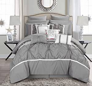 Chic Home Ashville 16 Piece Comforter Set, Queen, Silver