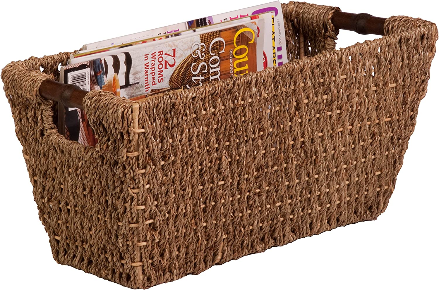 Honey-Can-Do STO-02965 Sea Grass Basket Tote with Handles, 17 by 9 by 8-Inch, Natural