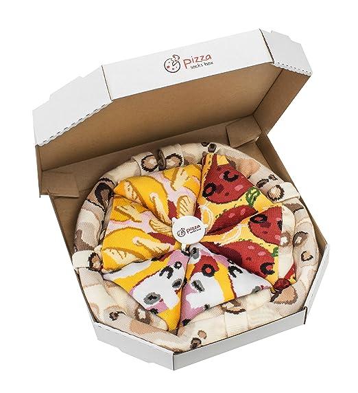 Pizza Socks Box - Pizza MIX Caprichosa Hawaiana Pepperoni - 4 pares de CALCETINES Divertidos de