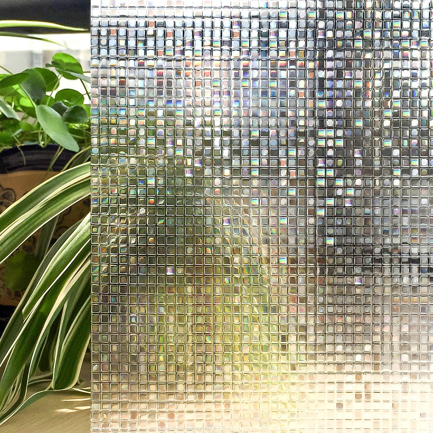 3D Privacy Window Film Decorative Static Cling Non-Adhesive Anti-UV Glass Film for Home Bedroom Bathroom Door Kitchen (Colorful 17.7 by 78.8 Inch)