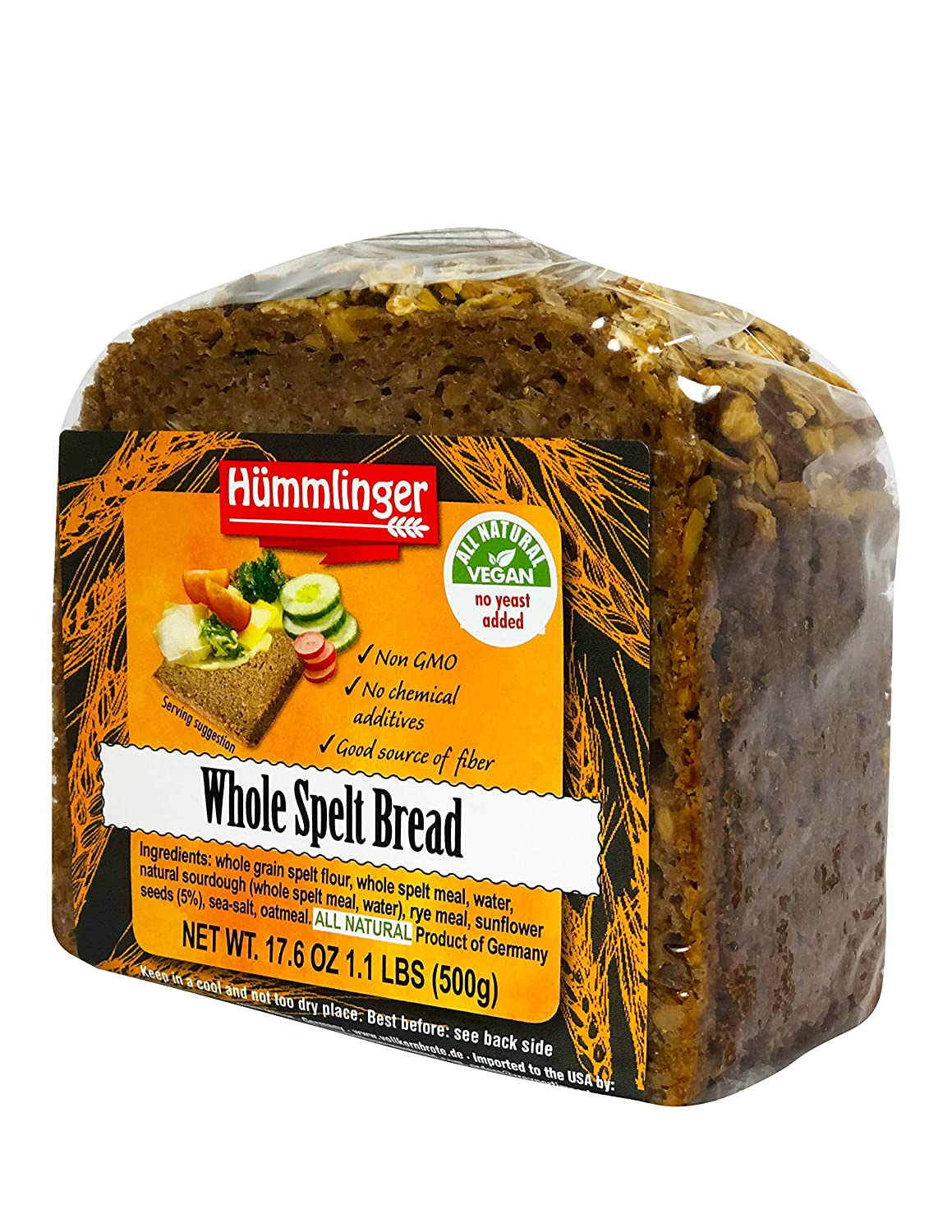 Whole Spelt Bread Yeast Free Hummlinger, No Yeast Added 17.6 oz (6 packages)
