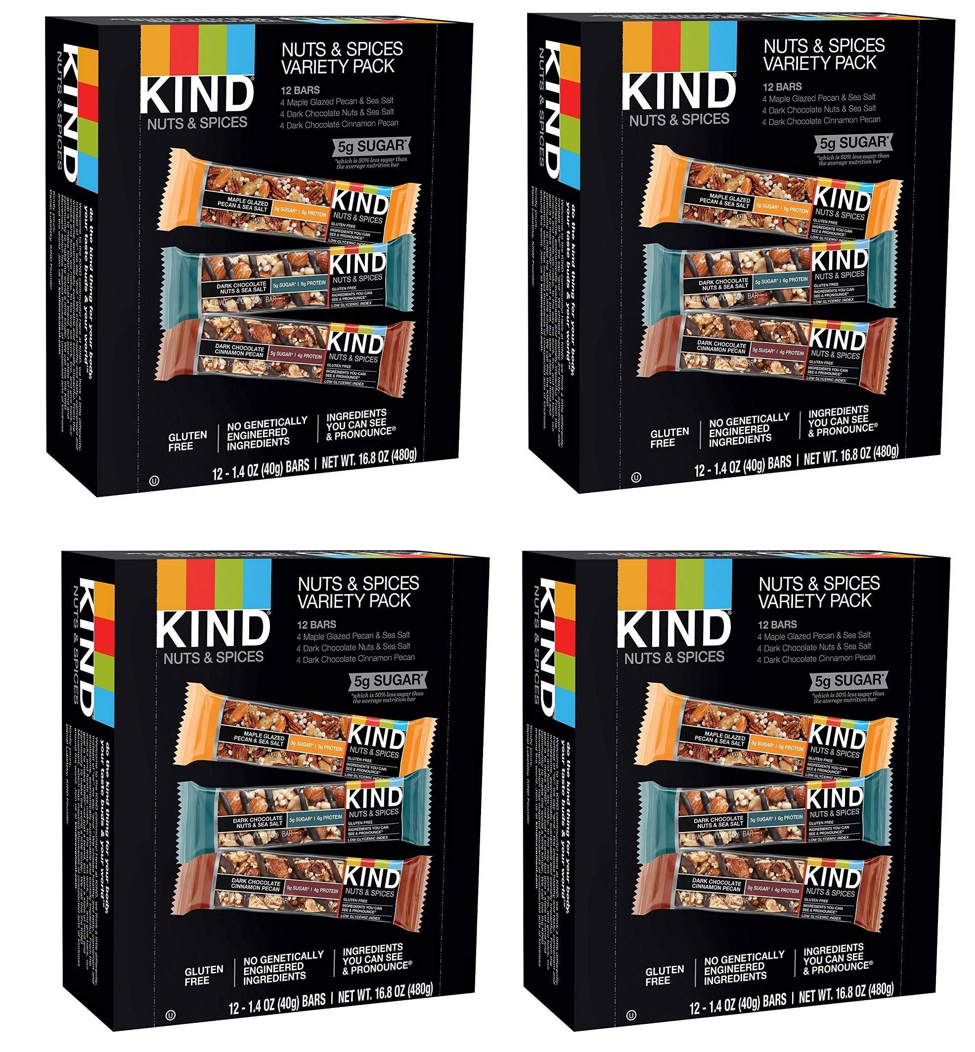 KIND Bars, Nuts and Spices Variety Pack, Gluten Free, 1.4oz (48 Bars) by  (Image #1)