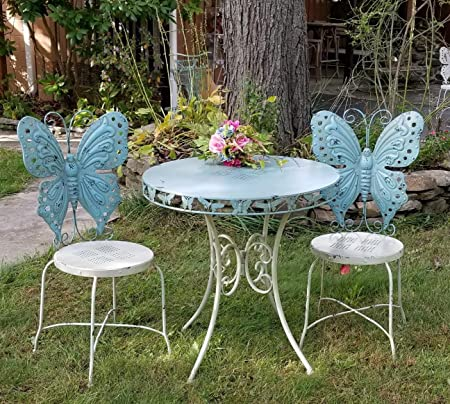 Amazon.com: Zaer Ltd. Outdoor/Indoor Butterfly Bistro Set, Set Of 3 (2  Chairs, 1 Table) (Antique White): Garden U0026 Outdoor