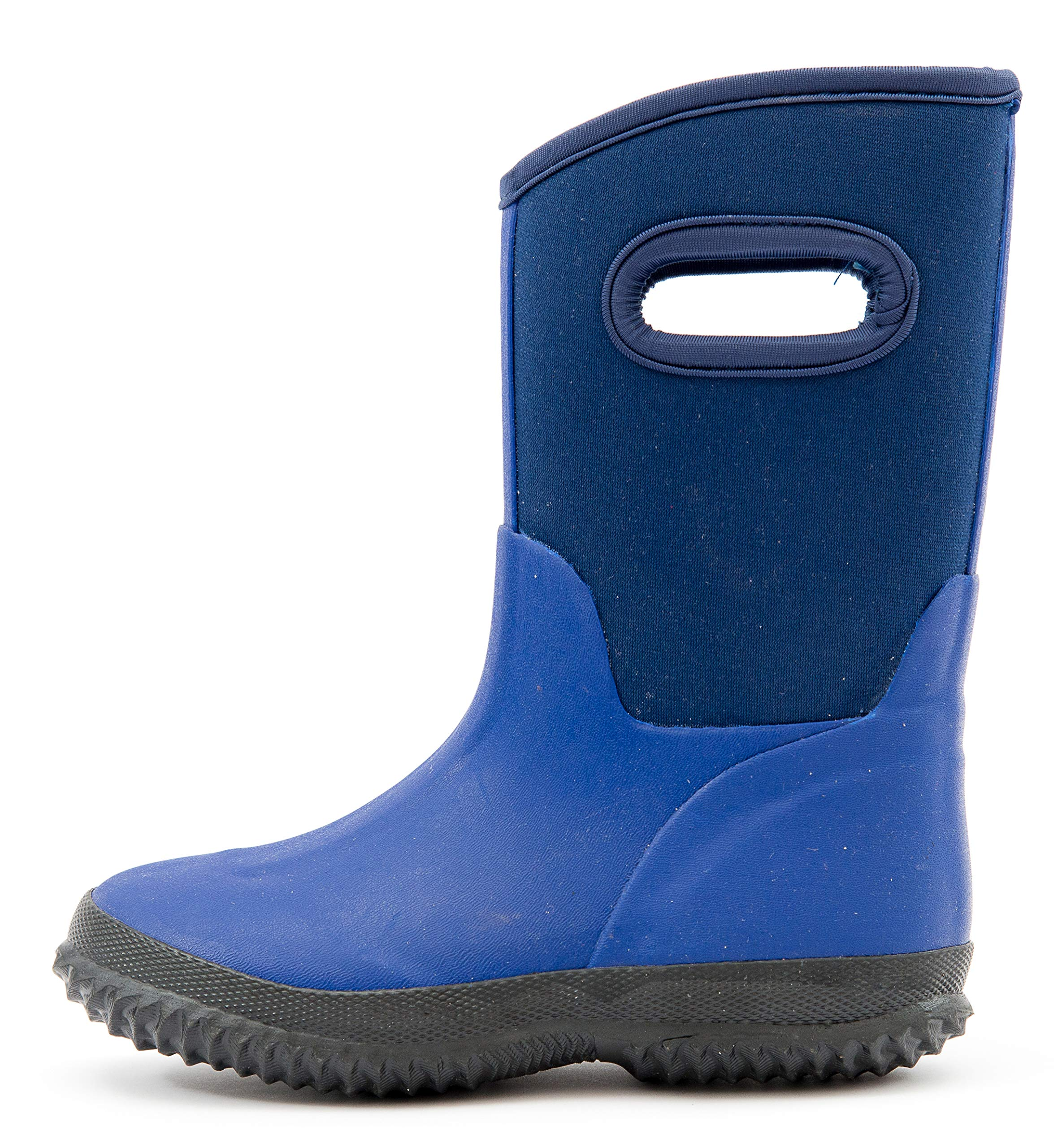 Outee Boys Kids Toddler Snow Winter Neoprene Boots Rubber Rain Boots Waterproof Outdoor Shoes Thermal Memory Foam Comfortable Easy On and Off (Size 2,Blue)
