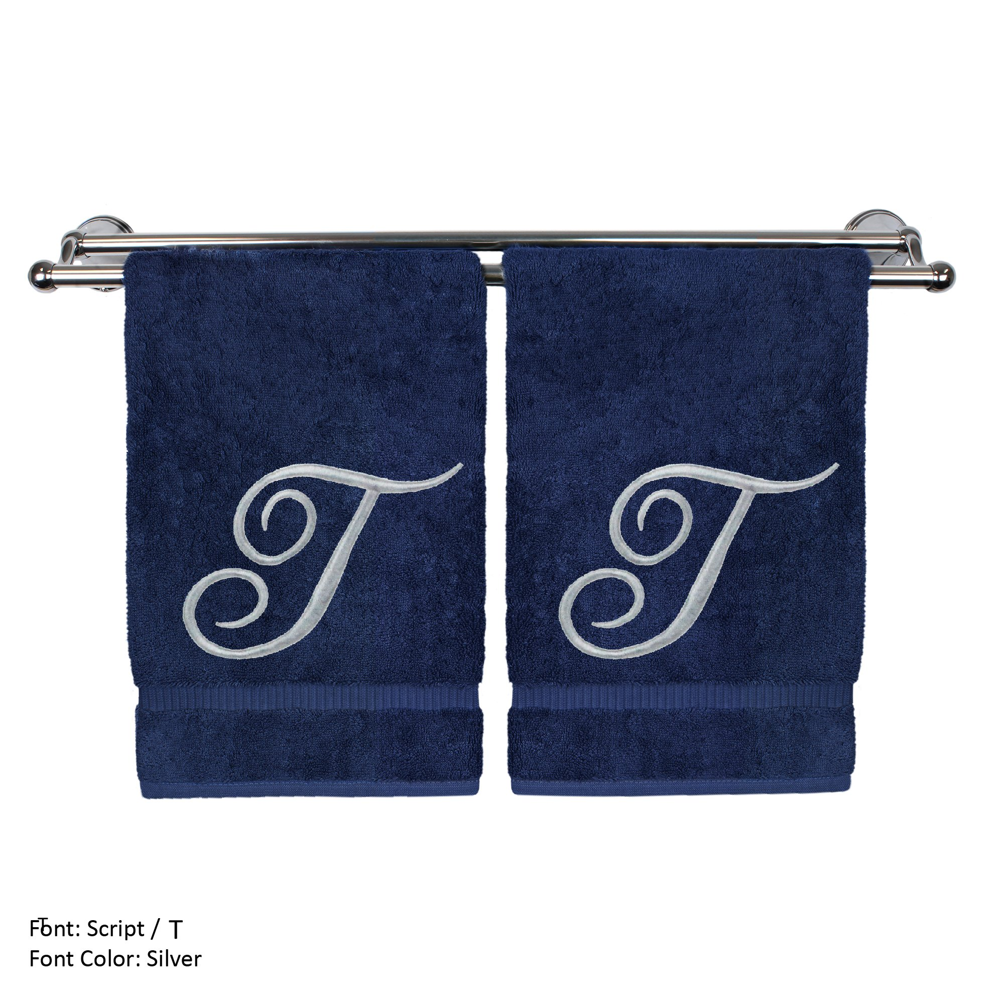 Monogrammed Hand Towel, Personalized Gift, 16 x 30 Inches - Set of 2 - Silver Embroidered Towel - Extra Absorbent 100% Turkish Cotton- Soft Terry Finish - For Bathroom, Kitchen and Spa- Script T Navy