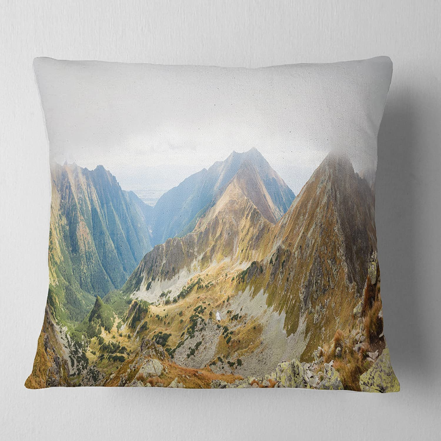 Sofa Throw Pillow 26 in Designart CU11041-26-26 Ostry Rohac and Placlive Peaks Landscape Printed Cushion Cover for Living Room x 26 in in
