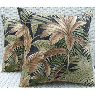 "Resort Spa Home Decor Set of 2 Indoor/Outdoor 20"" Decorative Throw Pillows - Black Green Tan Tropical Palm Leaf Floral: Home & Kitchen"