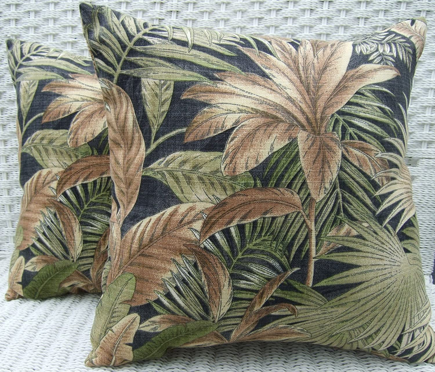 Set of 2 Indoor Outdoor 20 Decorative Throw Pillows – Black Green Tan Tropical Palm Leaf Floral