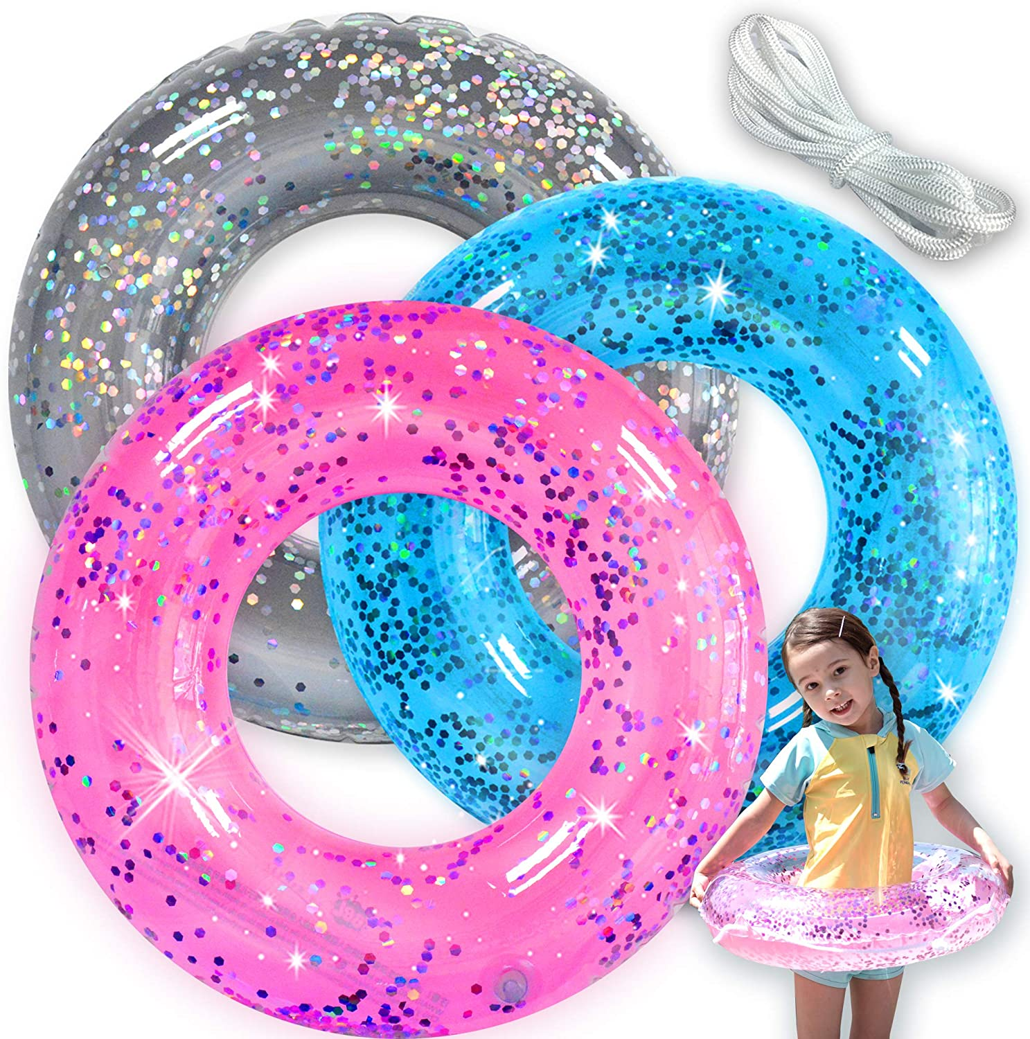 Adults Children Inflatable Swim Ring Sequins Swimming Pool Water Float Ring
