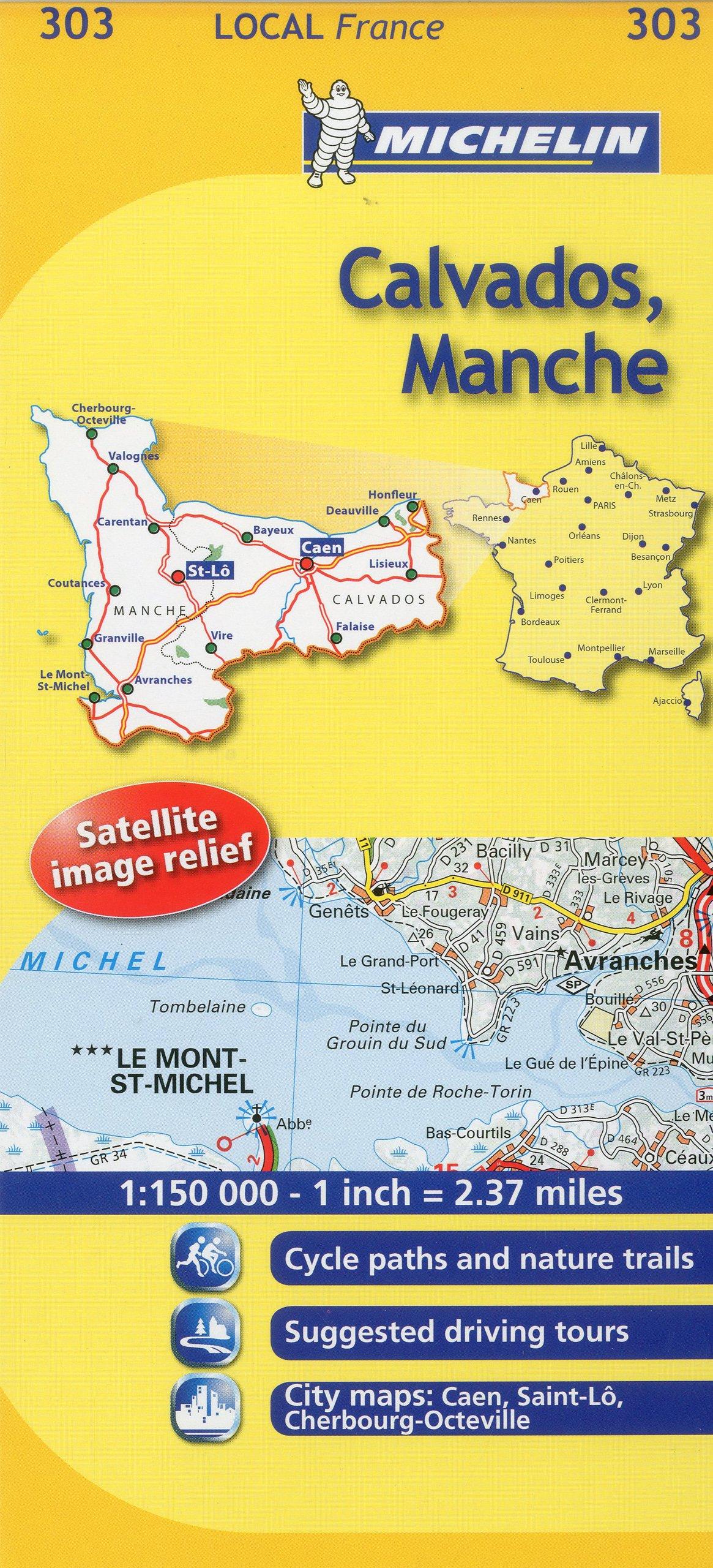Calvados France Map.Michelin Map France Calvados Manche 303 Maps Local Michelin