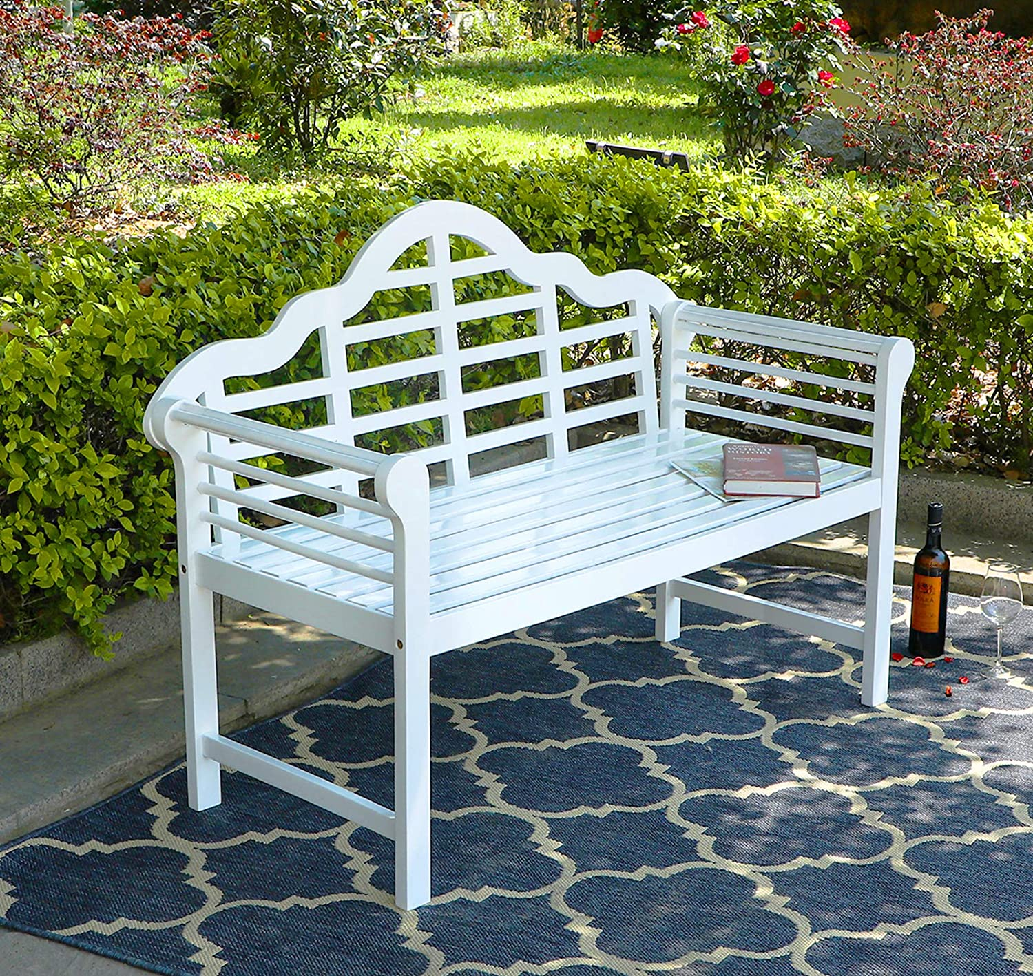 """PHI VILLA Outdoor Garden Bench, 53""""L Acacia Wood Bench with Backrest and Armrests, Elegant Design for Patio, Lawn, Balcony, Backyard, Porch and Indoor - White"""