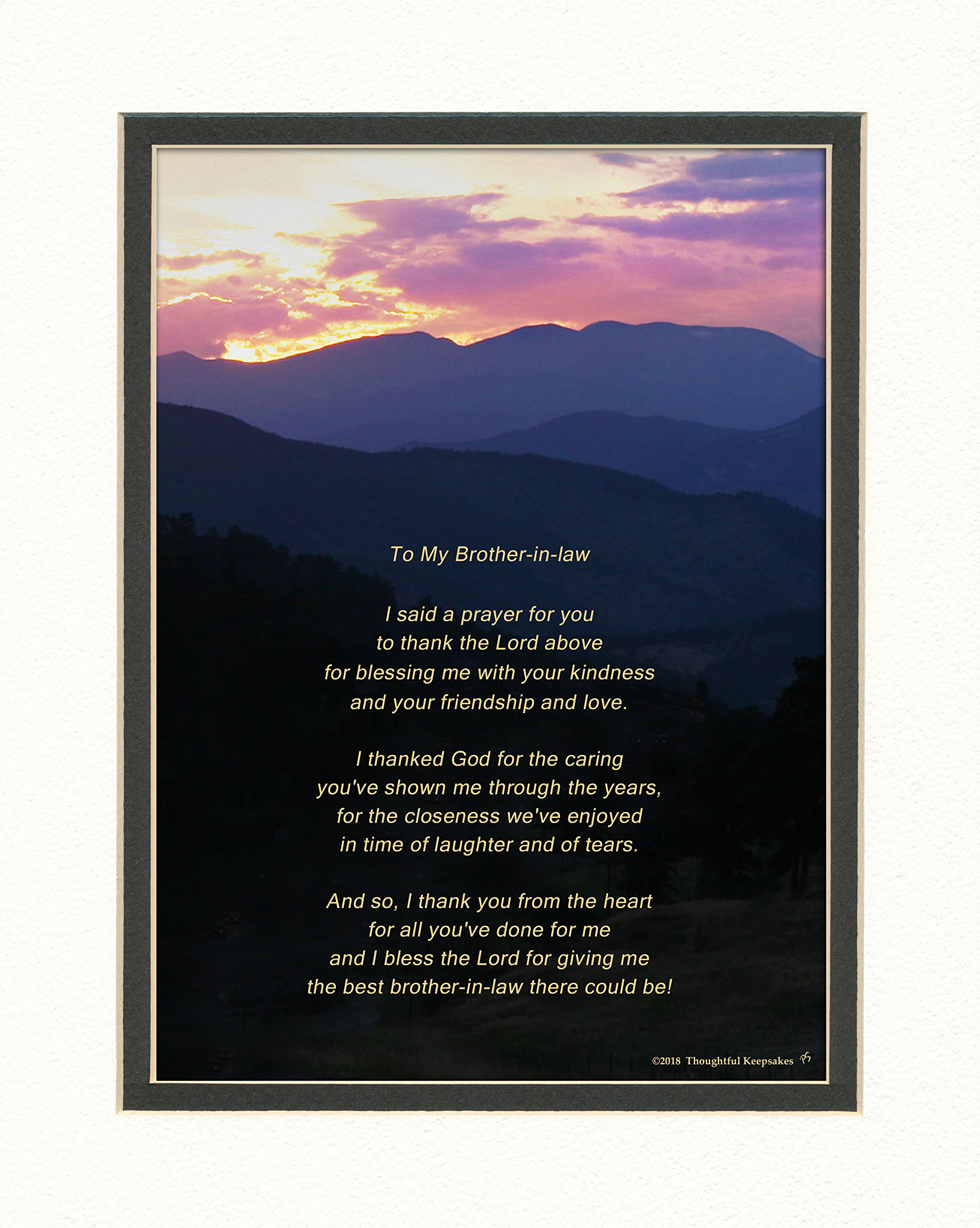 Brother-in-Law Gift with ''Thank You Prayer for Best Brother in law'' Poem. Mt Sunset Photo, 8x10 Double Matted. Special Birthday or Christmas Gift for Brother-in-Law.