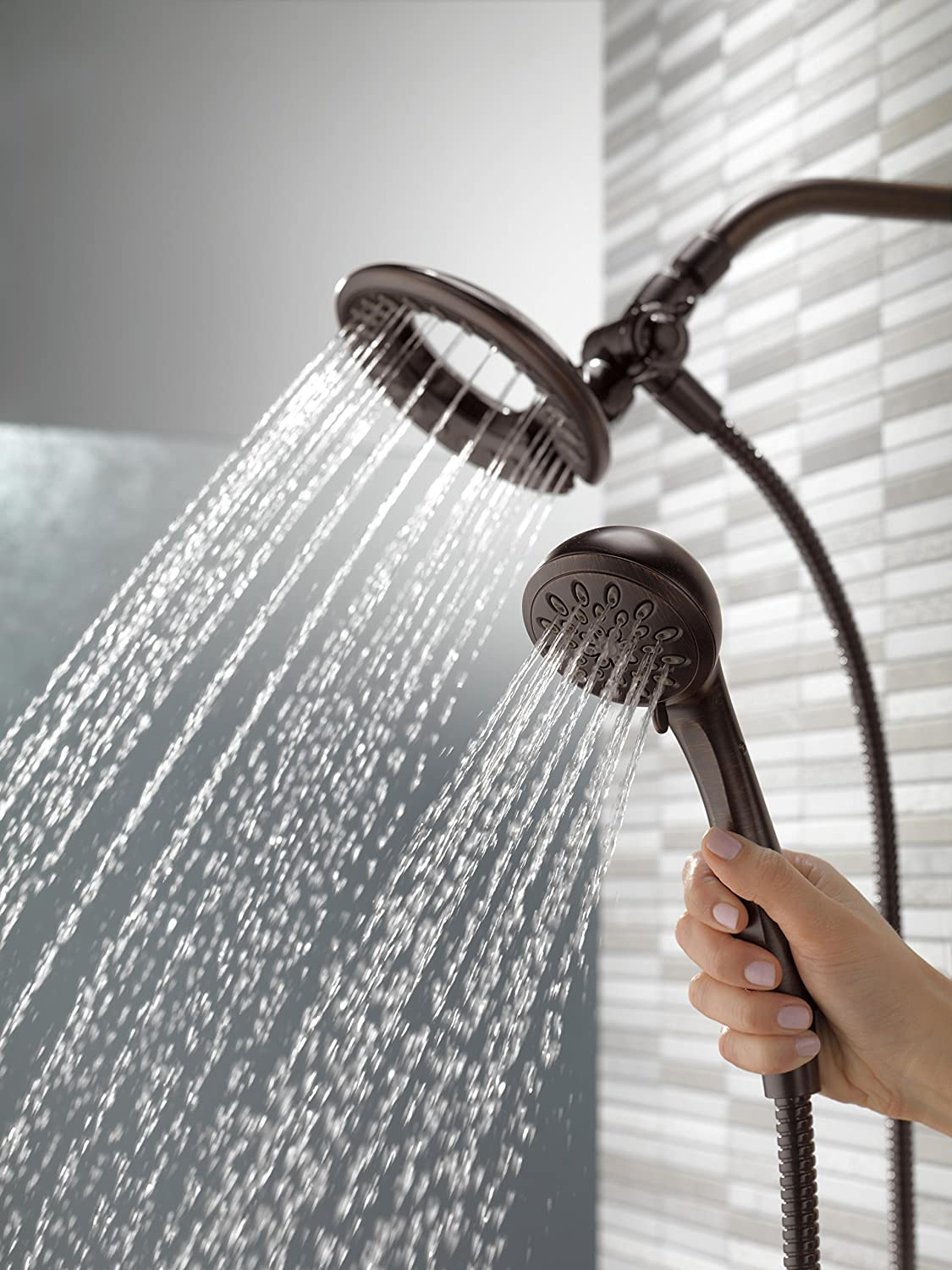 Delta 4-Spray Touch Clean In2ition 2-in-1 Hand Held Shower Head with Hose, Venetian Bronze (58065-RB) Delta Faucet