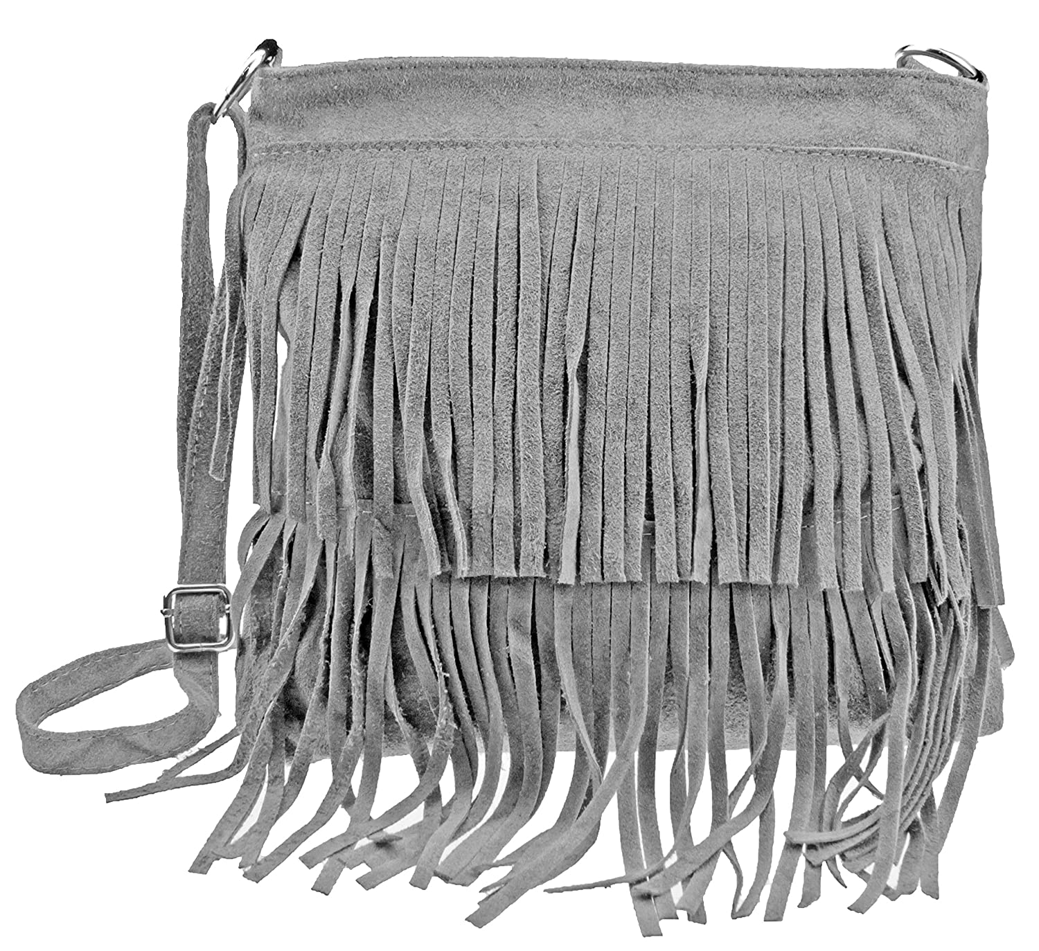 Vintage Fransentasche Pocahontas in various colours, real suede made in Italy / Crossbody Shoulder Bag