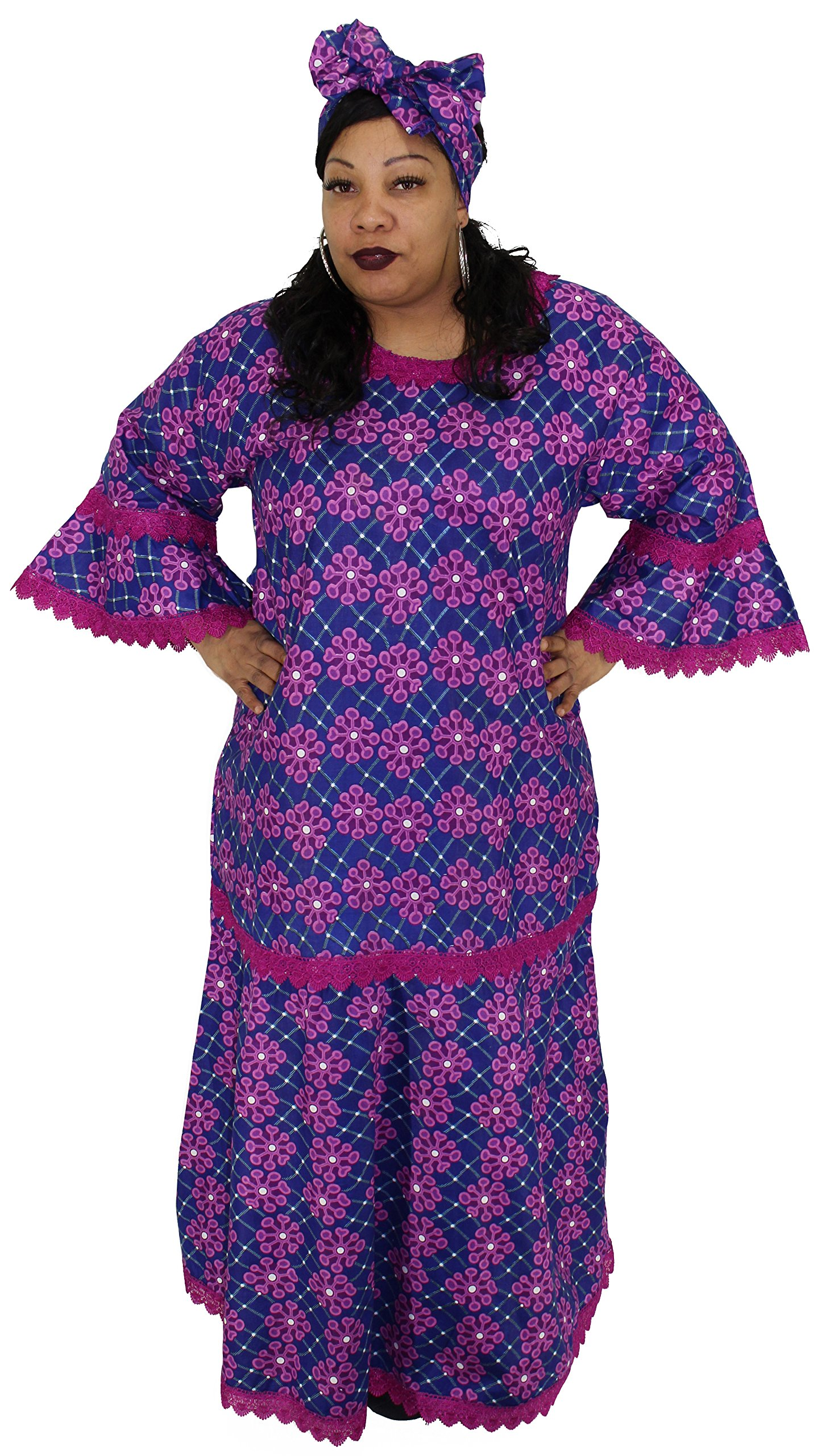 African Planet Women's Dress Ethiopian Wedding Inspired Maxi with Gele headwrap (Dark Magenta)